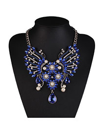 Fashion Blue Flower Decorated Hollow Out Design Alloy Bib Necklaces