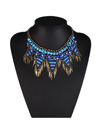 Exaggerate Blue Tassel Pendant Decorated Collar Design Acrylic Bib Necklaces