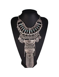Vintage Silver Color Tassel&coin Pendant Decorated Multi-layer Design Alloy Bib Necklaces