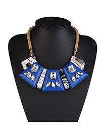 Fashion Blue Geometric Shape Decorated Collar Design Alloy Bib Necklaces