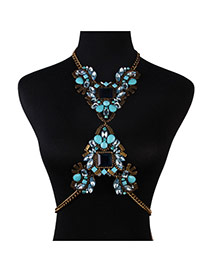 Exaggerate Blue Geometric Diamond Decorated Simple Design Alloy Body Chains