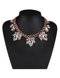 Fashion White Water Drop Diamond Decorated Short Chain Design Alloy Bib Necklaces