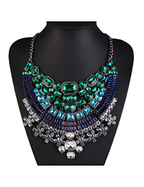 Luxury Green Diamond Weaving Decorated Collar Design