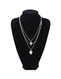 Parsimonious White Beads Decorated Multilayer Design Alloy Chains