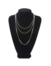 Fashion Blue Beads Decorated Multilayer Design Alloy Chains