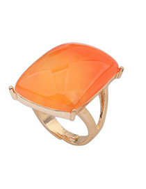 Gradient Orange Gemstone Decorated Square Shape Design Alloy Korean Rings