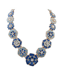 Subtle Dark Blue flower decorated simple design Alloy Bib Necklaces