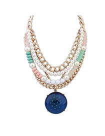 Tinsel Blue Pearl Decorated Round Shape Multilayer Design Alloy Bib Necklaces