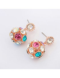 Bright Multicolor Diamond Decorated Round Shape Design  Alloy Stud Earrings