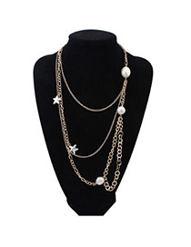 Pretty White Pearl Decorated Star Shape Multilayer Design Alloy Chains