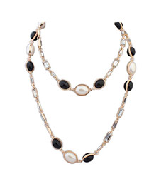 Fashion Black Pearl Decorated Double Layer Design Alloy Bib Necklaces