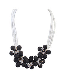 Decorous Black Crystal Decorated Flower Design Alloy Bib Necklaces
