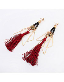 Fashion Multi-color Long Tassel Decorated Color Matching Earrings