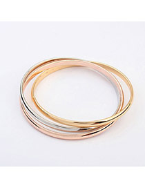 Small Gold Color Multilayer Simple Design Alloy Fashion Bangles