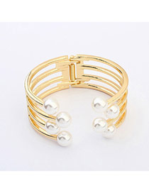 Flesh Champagne Gold Pearl Decorated Multilayer Design  Alloy Fashion Bangles