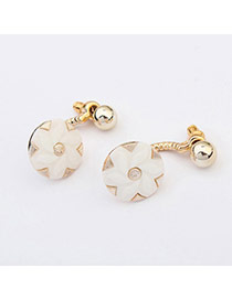 Preferential White Flower Shape Decorated Simple Design  Plastic Korean Earrings