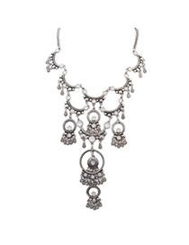 Retro Antique Silver Gemstone Decorated Semicircle Shape Design Alloy Bib Necklaces