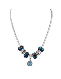 Trendy Dark Blue Flower Pendant Decorated Simple Design Cuprum Beaded Necklaces