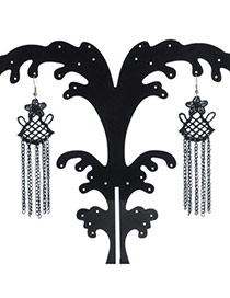 Exquisite Black Hollow Out Flower Decorated Tassel Design  Lace Korean Earrings