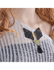 Exquisite Black Geometric Shape Pendant Simple Design Lace Bib Necklaces