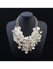 Exquisite White Flower Decorated Weave Design Alloy Bib Necklaces