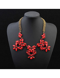 Exquisite Red Butterfly Shape Decorated Simple Design Alloy Bib Necklaces