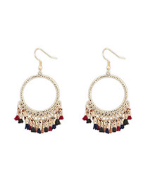 Sweet Multicolor Tassel Decorated Simple Design Alloy Korean Earrings