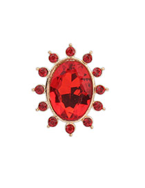 Exquisite Red Gemstone Decorated Oval Shape Design Alloy Korean Rings
