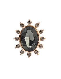 Exquisite Light Gray Gemstone Decorated Oval Shape Design Alloy Korean Rings