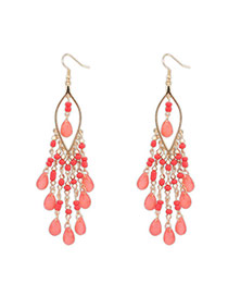 Bohemia Padparadscha Beads Decorated Tassel Design  Alloy Korean Earrings