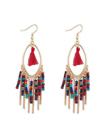 Bohemia Red Beads Decorated Tassel Design