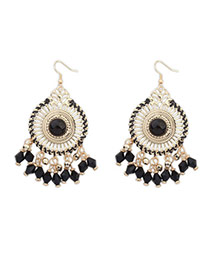 Bohemia Black Round Shape Decorated Tassel Design  Alloy Korean Earrings
