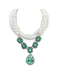 Exquisite Green Gemstone Decorated Multilayer Design Alloy Beaded Necklaces
