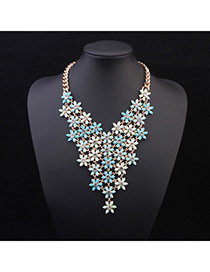Exquisite Blue Flowers Decorated V Shape Design Alloy Bib Necklaces