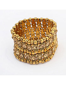 Exaggerate Champagne Diamond Decorated Multilayer Design  Alloy Korean Fashion Bracelet