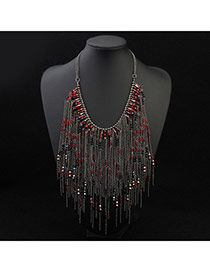 Trendy Red Beads Decorated Tassel Design Alloy Bib Necklaces