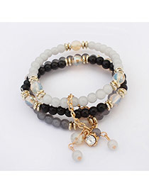 Elegant Black+white Elephant&flower Pendant Decorated Beads Multilayer Design Alloy Korean Fashion Bracelet