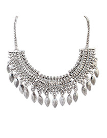 Elegant Silver Color Diamond Weave Decorated Tassel Design Alloy Bib Necklaces