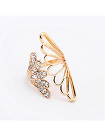 Exaggerate Gold Color Diamond Decorated Wing Shape Design  Alloy Korean Rings