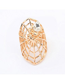 Exaggerate Gold Color Diamond Decorated Spider Web Shape Design  Alloy Korean Rings