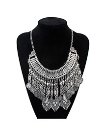 Fashion Anti-silver Coins&tassel Decorated Simple Design Alloy Bib Necklaces