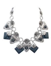 Elegant Gray Square Gemstone Decorated Collar Design Alloy Bib Necklaces