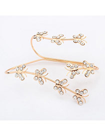 Sweet Gold Color Diamond Decorated Butterfly Shape Design  Alloy Fashion Bangles