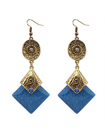 Fashion Dark Blue+antique Gold Square Gemstone Pendant Decorated Simple Design  Alloy Korean Earrings