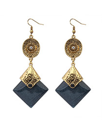 Fashion Dark Gray+antique Gold Square Gemstone Pendant Decorated Simple Design Alloy Korean Earrings