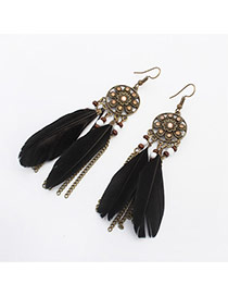 Retro Black+gold Color Feather Decorated Flower Pattern Design  Alloy Korean Earrings