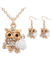 Sweet White Diamond&flower Decorated Owl Shape Pendant Design  Alloy Jewelry Sets