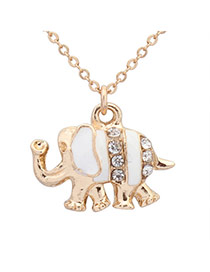 Sweet White Diamond Decorated Elephant Shape Pendant Design Alloy Chains