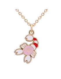 Sweet White+pink+red Scorpio Pendant Decorated Simple Design Alloy Chains