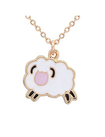 Sweet White+pink Aries Pendant Decorated Simple Design Alloy Chains